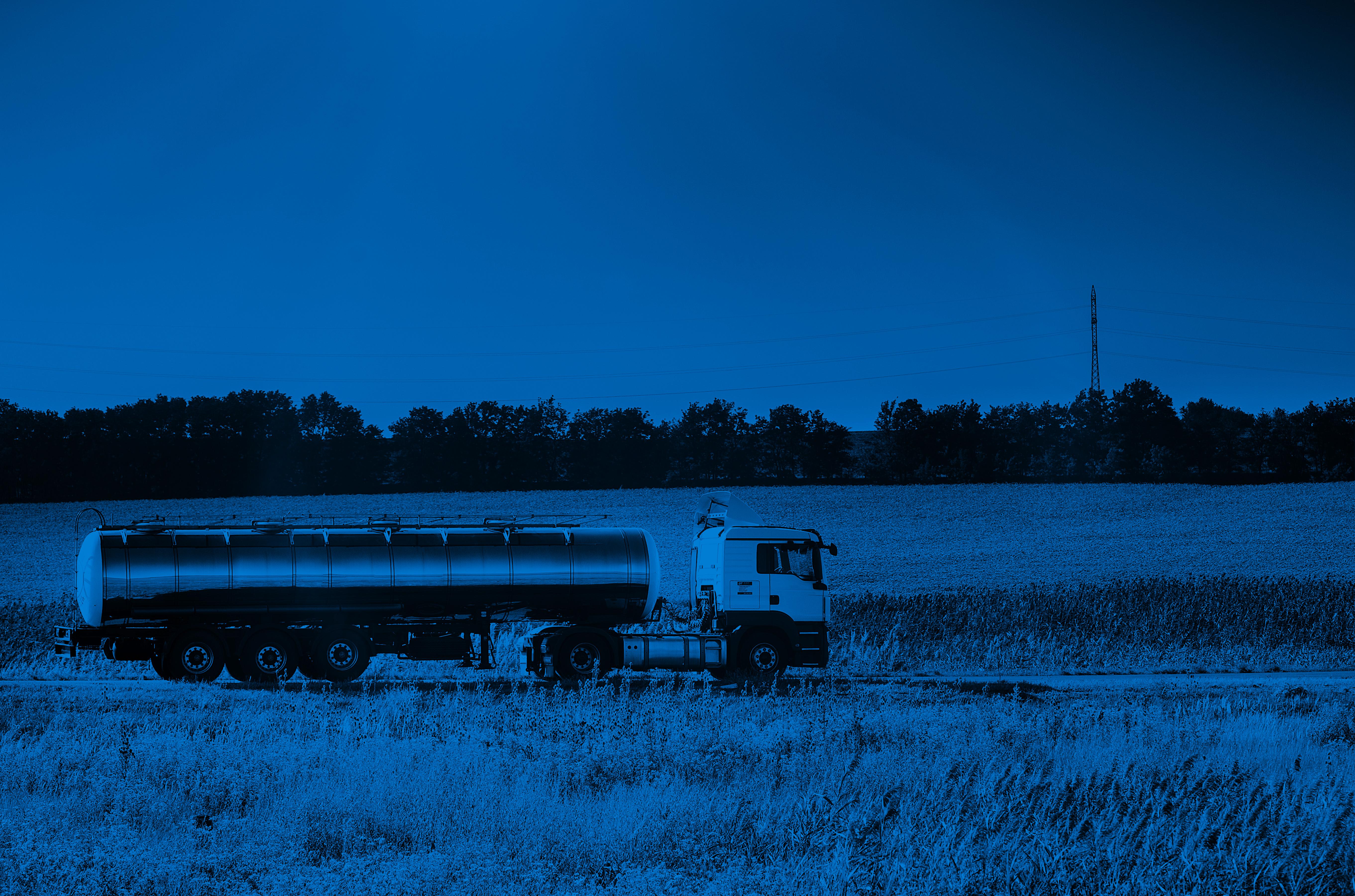 Contec milk tanker in blue filter